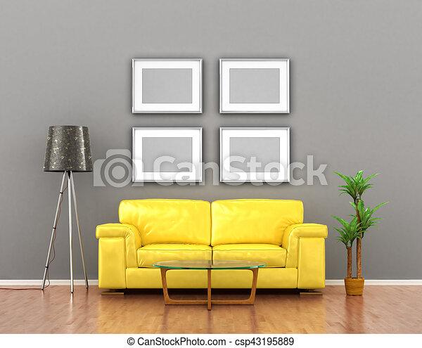 Gris pared cuadros encima sofa amarillo ilustraci n - Cuadros para encima del sofa ...
