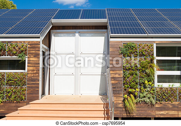 Gris, plante, mur, maison, moderne, eau, panneaux solaires. Usines ...