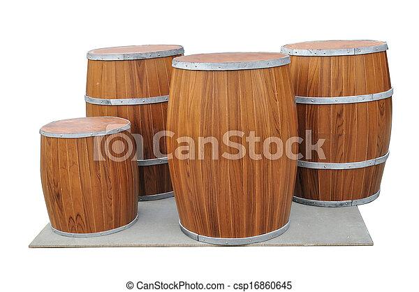 Muchos Beers Barrel-Shaped en la pizarra gris aislados por el camino. - csp16860645