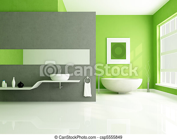 Gris, salle bains, vert, contemporain. Salle bains, sink-rendering ...