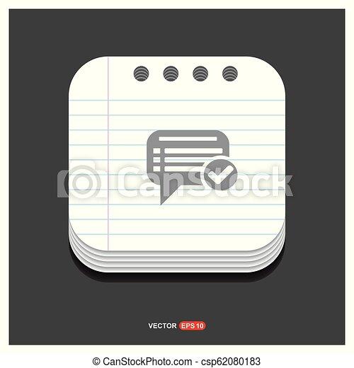 gris, style, ok, bavarder, 10, bloc-notes, eps, gratuite, vecteur, parole, gabarit, bulle, icône - csp62080183