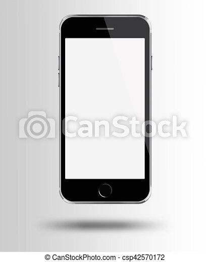 gris, téléphone, mobile, écran, arrière-plan., blanc, intelligent - csp42570172