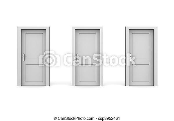 Tres puertas grises cerradas - csp3952461