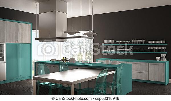 Gris, turquesa, sillas, moderno, piso, minimalistic, diseño, parqué ...