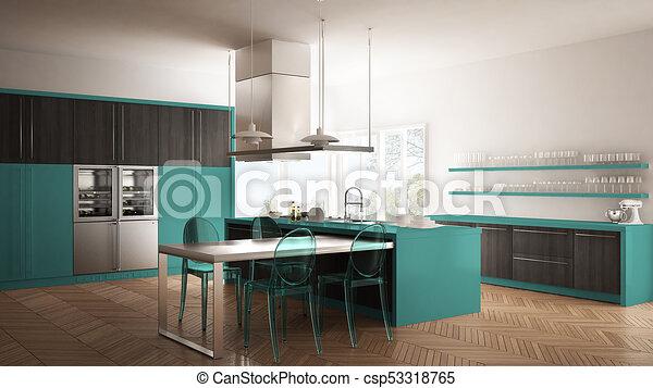 Cocina moderna mínima con mesa, sillas y parquet, diseño de ...