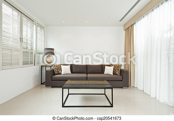 gris, vivant, clair, salle, sofa - csp20541673