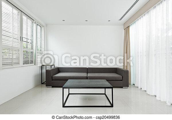 gris, vivant, clair, salle, sofa - csp20499836