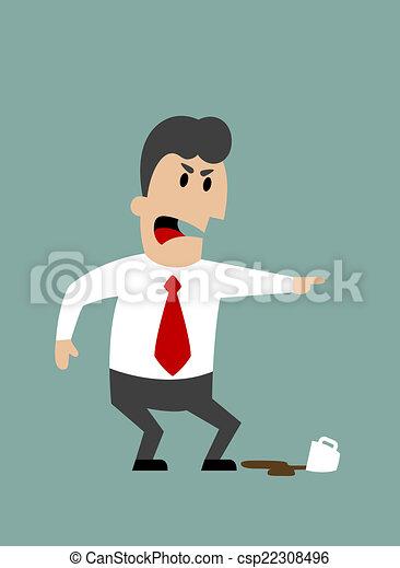 Jefe enojado o empresario gritando y señalando - csp22308496