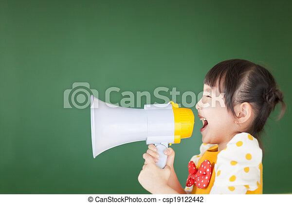 gritos, megafone, algo, criança, feliz - csp19122442