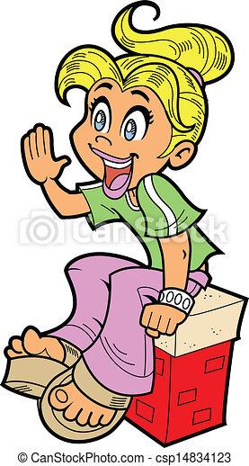 gritos, niña, feliz - csp14834123
