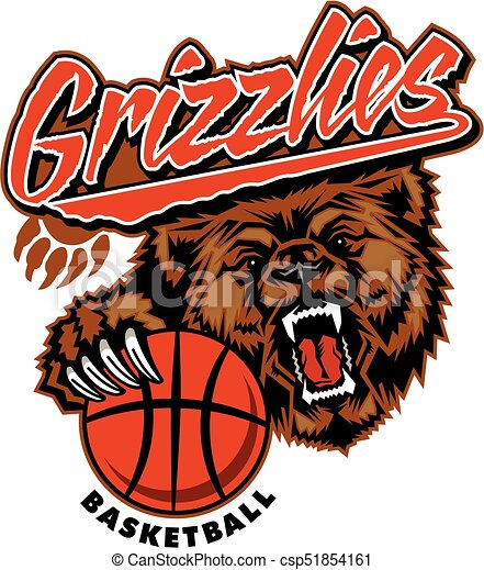 grizzlies basketball team design with bear mascot and basketball for rh canstockphoto ca  polar bear mascot clipart