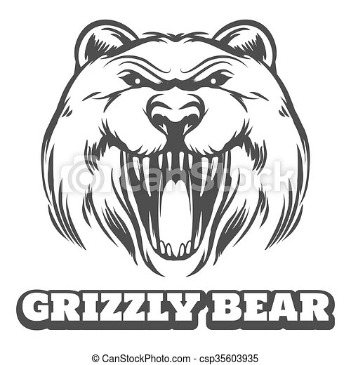 Grizzly bear head logo - csp35603935