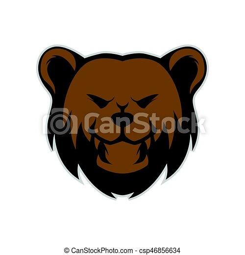 Grizzly bear head mascot - csp46856634