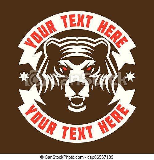 Grizzly bear head mascot - csp66567133