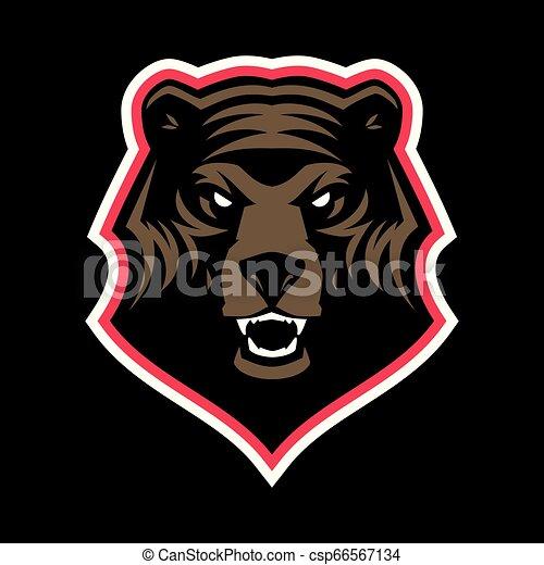 Grizzly bear head mascot - csp66567134