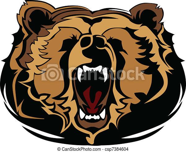 Grizzly Bear Mascot Head Vector Gra - csp7384604