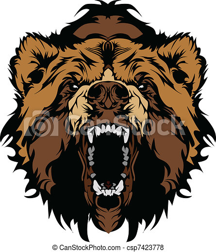 Grizzly Bear Mascot Head Vector Gra - csp7423778
