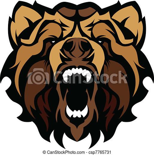 Grizzly Bear Mascot Head Vector Gra - csp7765731