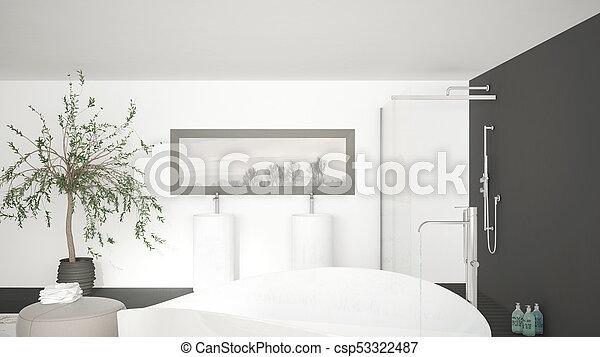 Groß, badezimmer, wanne, klassisch, doppelgänger, groß, modern, auf ...