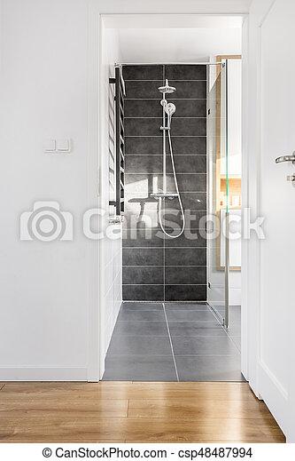 Relativ Groß, dusche, fliesenmuster, grau. Groß, badezimmer, grau, licht HC02