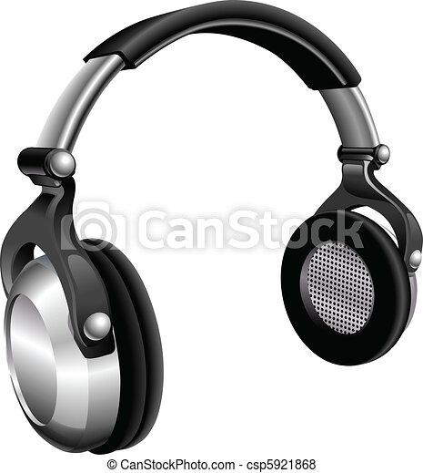 Groß, kopfhörer, dj. Headphones., abbildung, groß, vektor,... Vektor ...
