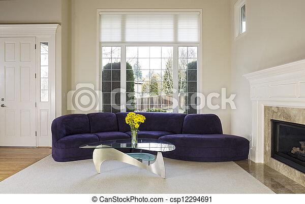 Groß, lebensunterhalt, modernes zimmer. Wohnzimmer, familie ...