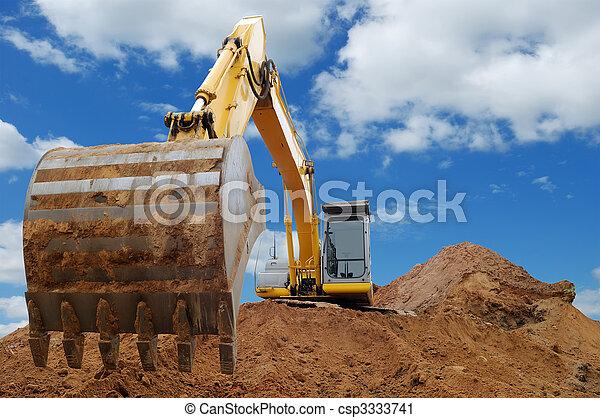 groß, planierraupe, schaufelradbagger, ladeprogramm - csp3333741