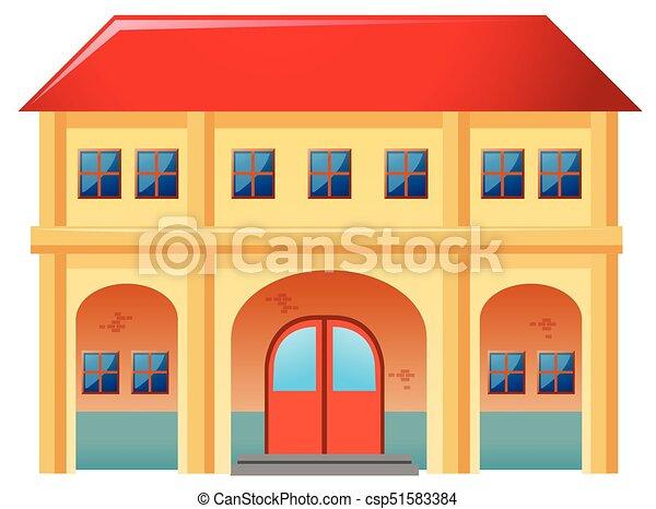 Groß, Rotes , Dach, Haus   Csp51583384