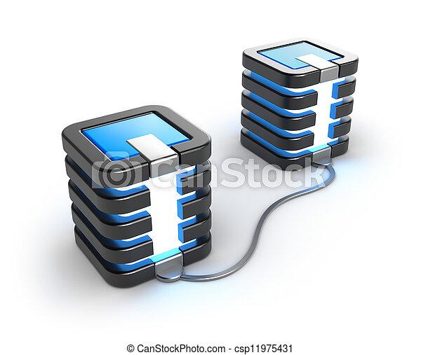 großrechner, verbunden, server - csp11975431