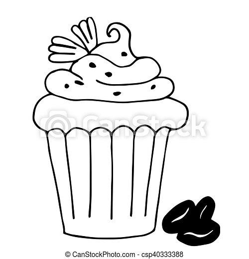 Grobdarstellung Bohnenkaffee Freigestellt Cupcake Bac Kuchen