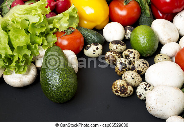 Groceries on dark background, side view. Close-up. - csp66529030