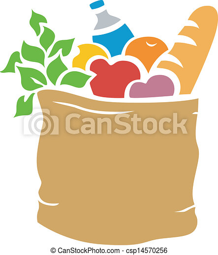 illustration of grocery bag full of groceries stencil rh canstockphoto com Grocery Bag with Food paper grocery bag clipart