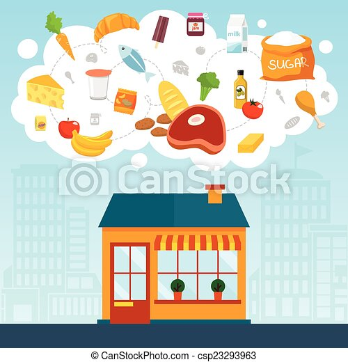 Grocery store concept with shop supermarket building front ... Grocery Store Logos Free