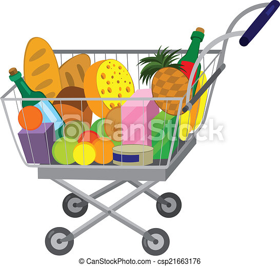 illustration of cartoon shopping cart full of groceries vectors rh canstockphoto com grocery store clipart images grocery store building clipart black and white