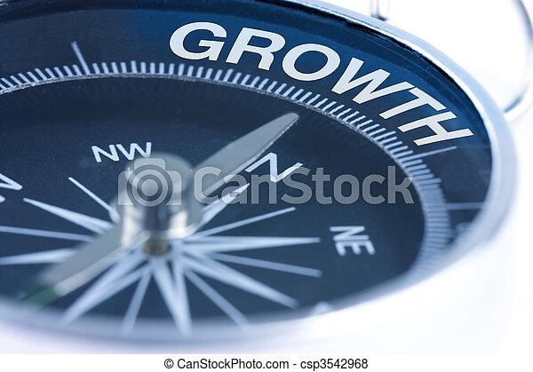 groei, woord, kompas - csp3542968