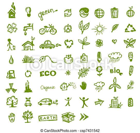 groene, ecologie, ontwerp, jouw, iconen - csp7431542