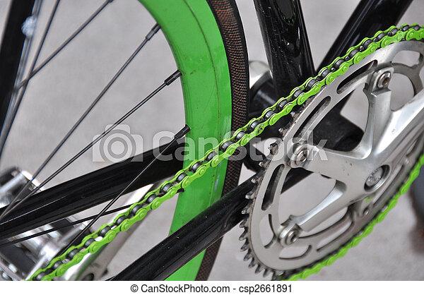 groene, fiets ketting - csp2661891