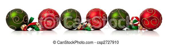 groene, lint, versieringen, witte kerst, rood - csp2727910