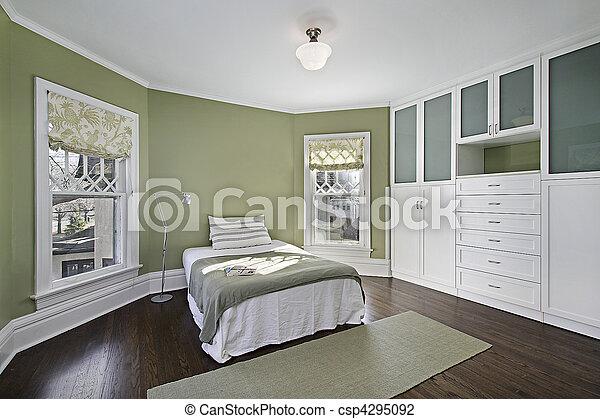 Groene, muren, meester, slaapkamer. Bevloering, donker,... stockfoto ...