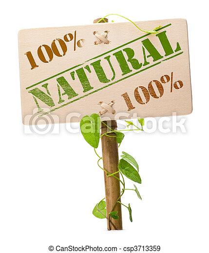 groene, natuurlijke , bio, meldingsbord - csp3713359
