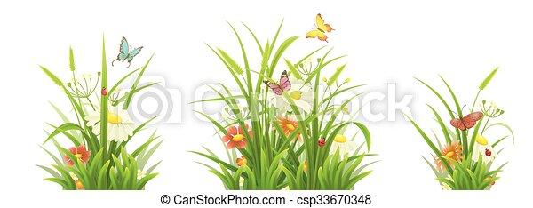 groene, set, bloemen, gras - csp33670348