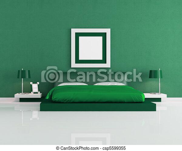 Minimalist, moderne, -, vertolking, groene, slaapkamer stock ...