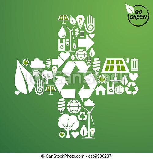 groene, vorm, plus, achtergrond, iconen - csp9336237