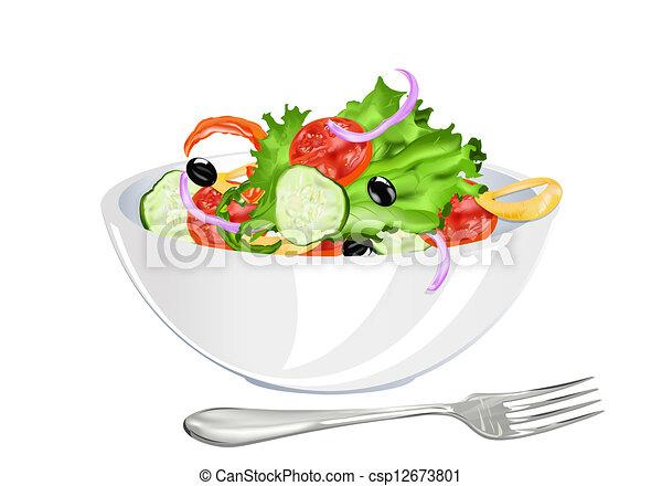 groente, fris, vegetariër, slaatje - csp12673801