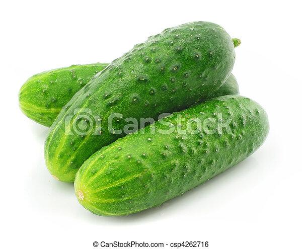 groente, groene, fruit, komkommer, vrijstaand - csp4262716