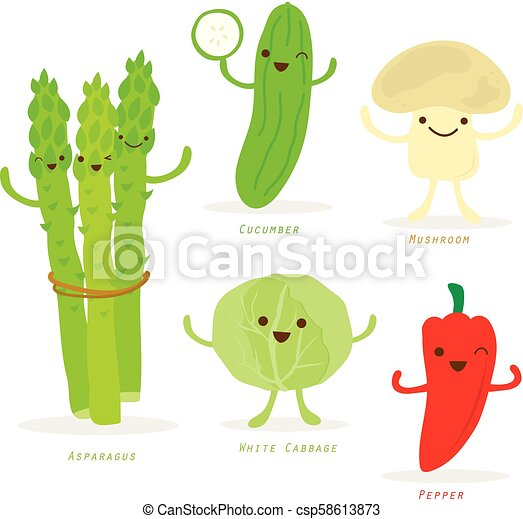 groente, schattig, set, spotprent, vector - csp58613873