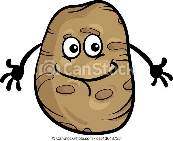 groente, schattig, spotprent, illustratie, aardappel - csp13643735