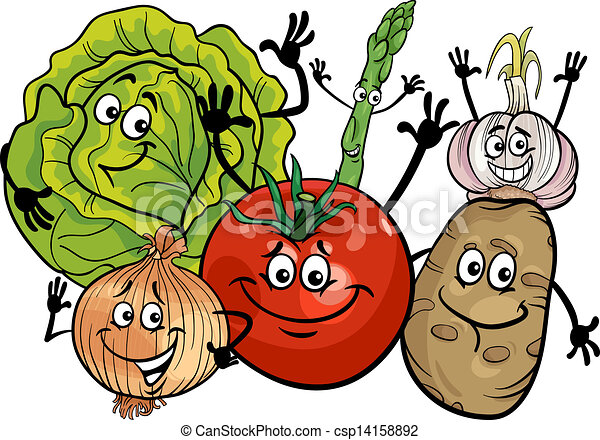 groentes, groep, spotprent, illustratie - csp14158892
