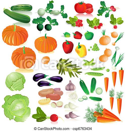 groentes, vrijstaand, verzameling - csp6763434
