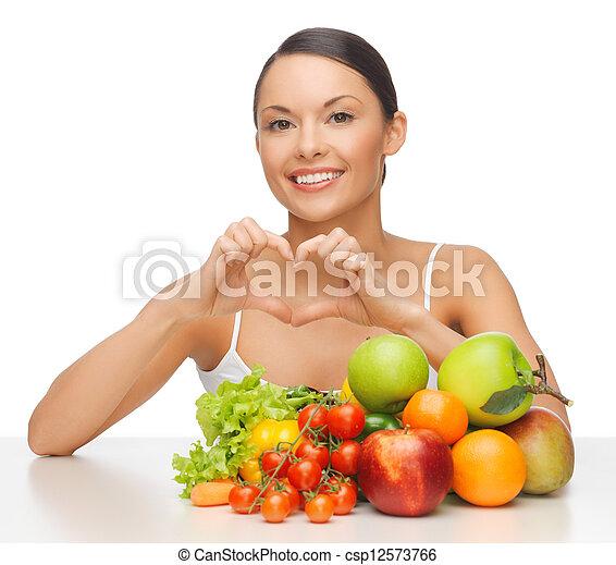 groentes, vrouw, vruchten - csp12573766